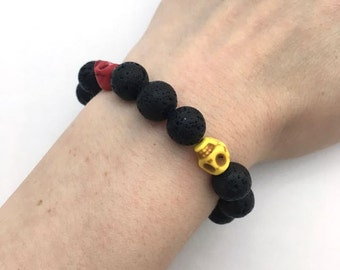 Black lava stone bracelet / sugar skull bracelet / Dia de los Muertos bracelet / Day of the Dead bracelet / multicolour bracelet / Halloween