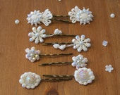 Hair pin set of 4 couples, Lace hair pin, acrylic swarovski , Boho Vintage style wedding hair accessories.