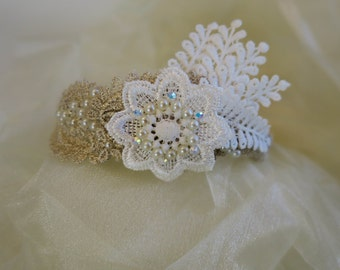 Wedding headband, 1920 headpiece, bridal headband, Great Gatsby,  pearl, lace headband, Vintage wedding, Boho style wedding accessories.