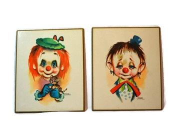 Dianne Dengel, Clowns, Chipboard, Mid Century Art,  Nursery Decor, Set of Two