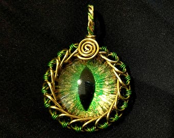 Green & Gold Hand-Painted Dragon Eye Pendant w/Gold and Green Wire Wrap (with Necklace)