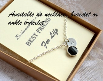 Black bridesmaids necklace, Personalized wedding gift, Bridesmaids jewelry, Bridesmaids necklace, Bridesmaids gift 1234