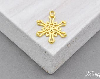 925 Sterling Silver Snowflake Charm gold plated, Silver snowflake Charm, Bracelet snowflake, Silver snowflake, Necklace snowflake Charm