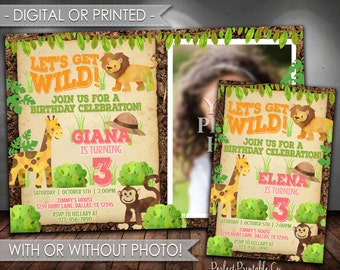 Jungle Birthday Invitation, Safari Birthday Invitation, Zoo Animal Birthday Invitation, Pink, Girl Birthday Party, Digital or Printed #625