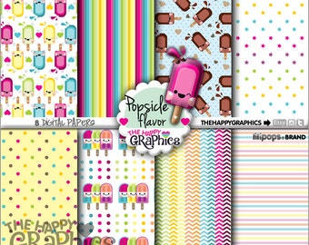 Popsicle Digital Paper, 80%OFF, COMMERCIAL USE, Popsicle Pattern, Printable Paper, Rainbow Paper, Rainbow Party, Popsicle Celebration