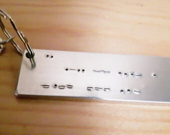 Secret Morse Code message, I love you keyring, morse code keyring, secret valentine gift, gift for him, husband gift, boyfriend gift,