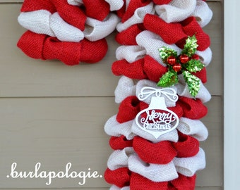 Candy Cane Burlap Wreath, Holiday Wreath Christmas Wreath, Winter Wreath, Red & White Striped Wreath, 24 inches.
