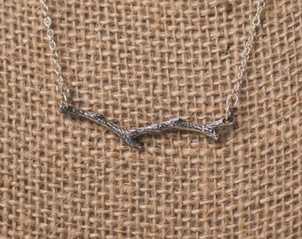 Sterling Silver Branch Bar Necklace