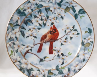 Vintage Decorative Plate, Cardinal Plate, Spring Decoration, Empty Nesters, Signs of Spring, Bradford Exchange, Floral Bird Lover Plate