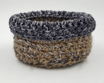 Crocheted Basket, Storage Basket, Decorative Basket, Jute Basket, Small Crocheted Basket, Soft Crocheted Basket, Organizer Basket