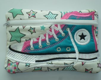 Teal Stars Embroidered High Top Shoe Zipped Purse - Like Converse