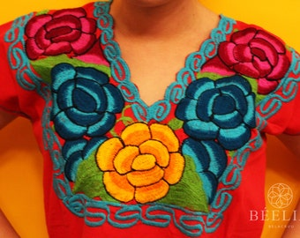 Embroidery Blouse - Floral - Mexican