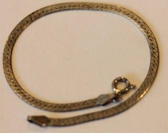 "Italy vintage sterling silver flat link chain bracelet 7 1/8"""