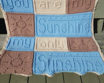 You Are My Sunshine Blanket - Made to order - Baby blanket - Throw - Afghan - Knit - Crochet -