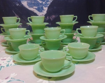 Single Fire King Jadeite Jane Ray Tea Cup And Saucer