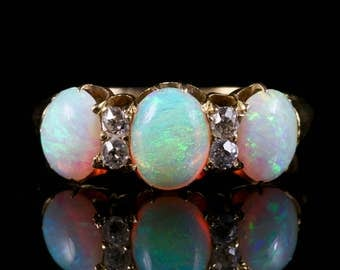 Antique Victorian Opal Diamond Ring 18ct Gold Circa 1880