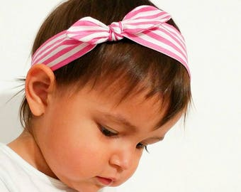Hair band for girl or Mama pink-and-white striped