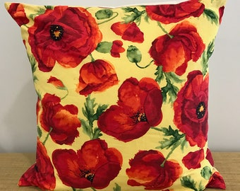 "Red Poppy Poppies flowers on yellow cushion cover throw pillow. 18"" (45cm). Made Australia. Cushion covers Australia"