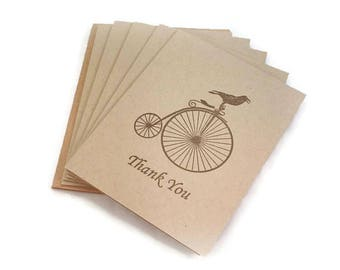 Thank You Note Set, Thank You Cards, Blank Note Cards, Thank You Note Cards, Bird, Bicycle, Vintage Style, Thank You Notes, Hand Stamped
