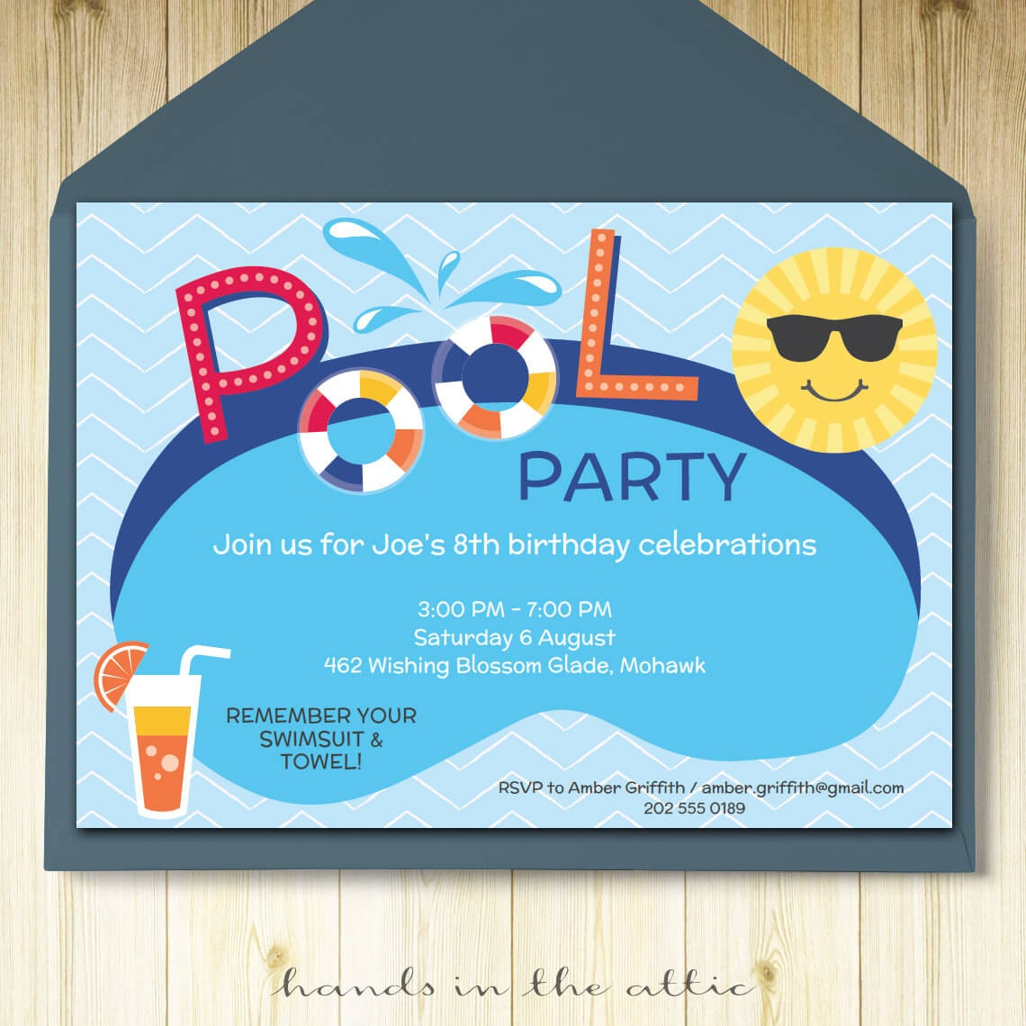 Pool Party Invitation Card Editable Template Party Printable