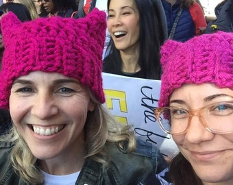 Pink Kitty Cat Hat, Pink Pussy Hat Project, Pussy Hat, Feminist Hat, Women's March, Pussyhat Project, Pink Cat Hat, Cute Kitty Cat Hat
