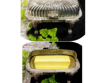Sliver butter dish -  Butter Dish with Lid - footed butter dish - butter server - vintage kitchen - domed butter dish  # 67