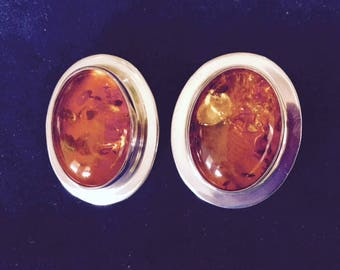 Baltic Amber and Sterling Silver Earrings