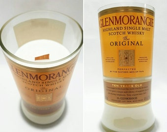 Upcycled Soy candle with Wood Wick. Scotch Whisky Bottle . Lemongrass and Lime fragrance.