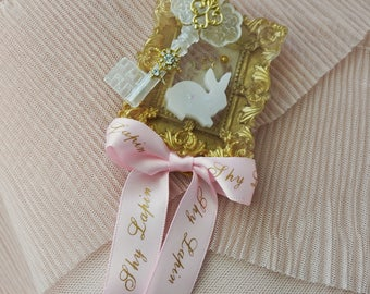 Square Small Starry Rabbit brooch in pink