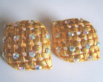 Rhinestone Gold Tone Clip Earrings  (304)