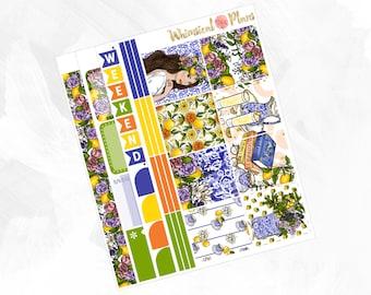 Lemonade HORIZONTAL Kit - Matte Glossy Erin Condren Horizontal Planner Stickers - Blue Yellow Orange Green Garden Lemons Spring Summer