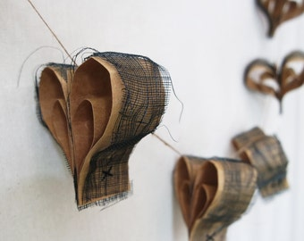 Rustic love heart bunting – vintage grunge – Sinamay bunting – battered hearts bunting – rustic bunting – paper hearts – paper artwork