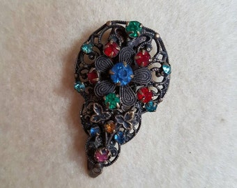 Vintage Czech filigree wirework paste stones dress clip
