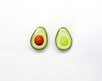 Avocado earrings, Avocado Studs, food earrings, Vegan Stud Earrings