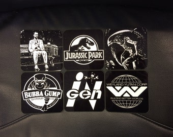 Classic Film Logos Coasters - Singles or Sets - Alien - Jurassic Park - Forrest Gump