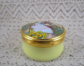 Franklin Mint Pill Box, Enamel, The Poetry Series, Elizabeth Barrett Browning