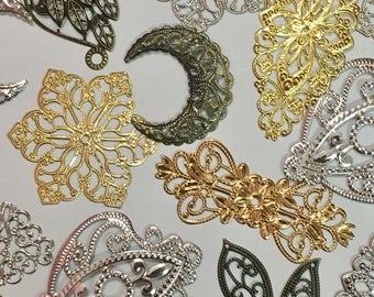Mixed Lots Raw Brass Filigrees-Assorted Shape and Size Filigrees-Gold/Silver/Bronze Filigrees