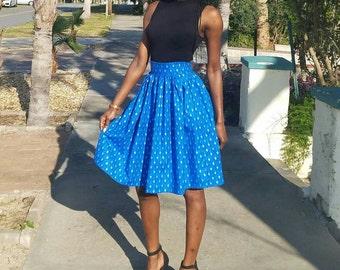 African style midi skirt - deep blue