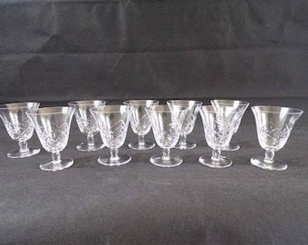 10 glasses vintage walk in Crystal Saint louis serious high quality crystal 1920 vintage France vintagefr