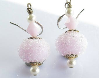 Pink Lampwork Earrings, Sugar Bead Earrings, Sugar Coated Lampwork Earrings, Pastel Pink