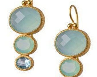 Chalcedony and Blue Topaz 24K Vermeil earrings