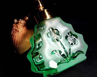 Green Glass Flower Perfume Bottle