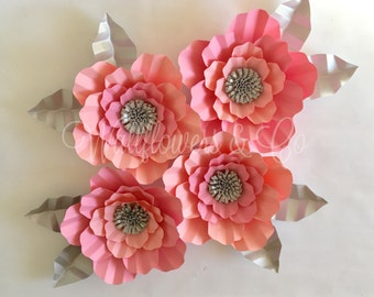 Pink flowers - set of 4 - giant paper flowers - large paper flowers - nursery decor - baby shower decorations - bedroom decor - wall art - g
