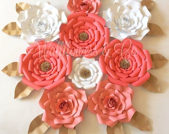 Paper flower backdrop - 9 piece set
