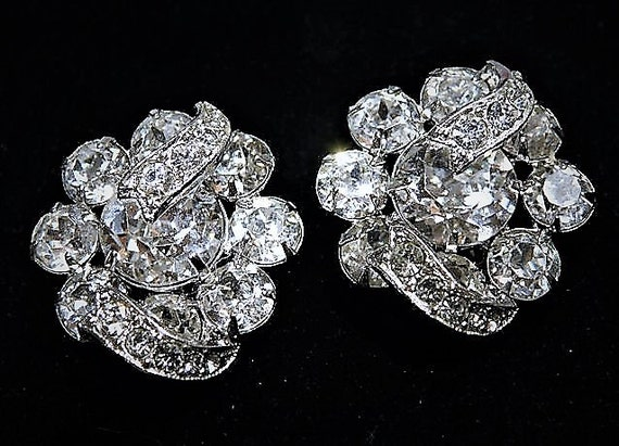 1950s EISENBERG Earrings Rhinestone Swarovski Austrian Crystals Mid Century Vintage Hollywood Wedding Bride Bridal Jewelry Clip On Earrings