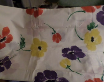 Watercolor pillowcase set Vintage Flowers red yellow purple with green white main NWOTS Fieldcrest pillowcase standard