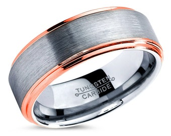 Tungsten Wedding Band,Tungsten Wedding Ring,Anniversary Band,Grooms Ring,Engagement Band,Handmade,His,Hers,Custom,8mm 18k Rose Gold Ring