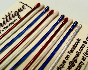 Decorative bobby pins. Decorative hair pins. Fourth of July hair pins. colorful bobby pins. 4th of July hair. Red white and blue hair pins.
