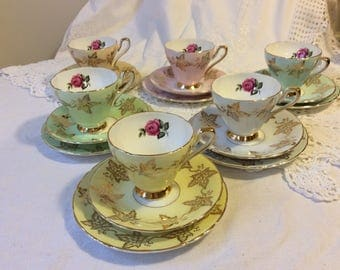 Beautiful Delphine Sutherland 18piece Harlequin Floral Teaset 1950s