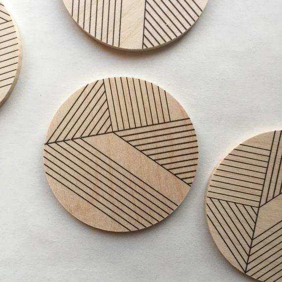 DECO set of 4 wood coasters